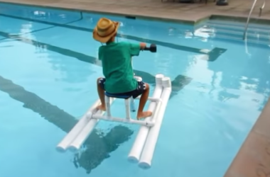 This Drill-Powered Pontoon Boat May Look Simple, But It's Awesome