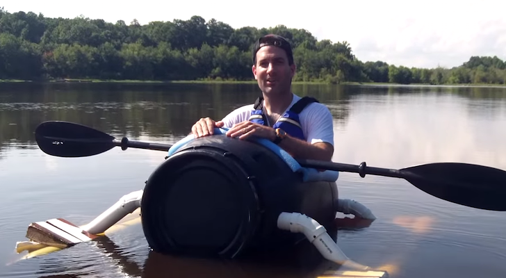 This DIY Pickle Barrel Boat Can Get You To Those Hard-To-Reach Fishing Holes!
